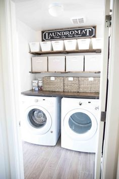 Farmhouse Inspired Laundry Room Makeove-Laundry Room Organization for small spac. Farmhouse Inspired Laundry Room Makeove-Laundry Room Organization for small spaces Laundry Room Remodel, Basement Laundry, Farmhouse Laundry Room, Small Laundry Rooms, Laundry Room Design, Farmhouse Small, Modern Farmhouse, Farmhouse Decor, Laundry Decor
