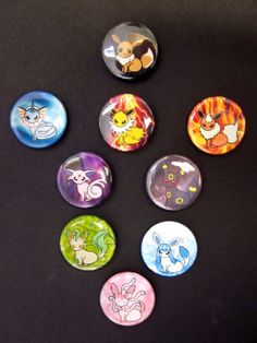 Eevee and Eeveelutions Set of 1 Buttons by Rosewine on Etsy, $9.00
