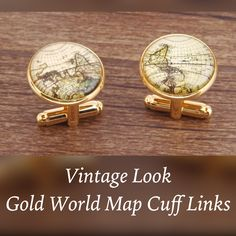 These are a unique pair of men's Cuff Links. They have avintage look, are gold in appearance, and display the world globe. Makes a great gift idea! 🎁    Tnis item ships immediately to US addresses. 📦 Also available for local pick up in Sacramento, CA for known Customers.    This item is also available for shipment outside of the United States. However, please note that it may take up to three weeks to arrive to addresses outside of the US. | Shop this product here…