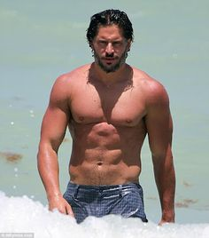 True Blood star Joe Manganiello shows off his toned torso while on Miami's South Beach yesterday