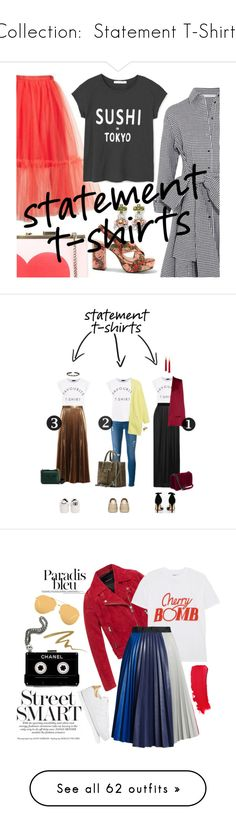"""""""Collection:  Statement T-Shirts"""" by jzanzig ❤ liked on Polyvore featuring Tammy & Benjamin, Maje, Topshop, MANGO, A.L.C., Enza Costa, Haider Ackermann, Frame, Boohoo and Betsey Johnson"""