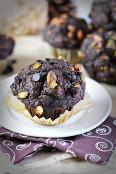 Pumpkin Zucchini Dark Chocolate Muffins - Taste so unhealthy no one will believe that no sugar is added