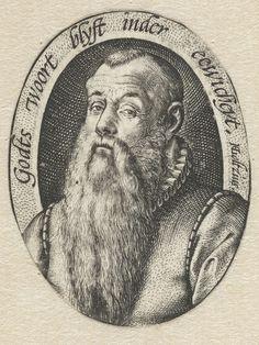 Hendrick Goltzius | Portret van Johannes Gelasius (Vitriarius), Hendrick Goltzius, 1579 - 1590 | Ovaal busteportret van een oudere man met lange baard, geïdentificeerd als Johannes Gelasius, theoloog te Oudewater. Om de voorstelling een randschrift in het Nederlands.