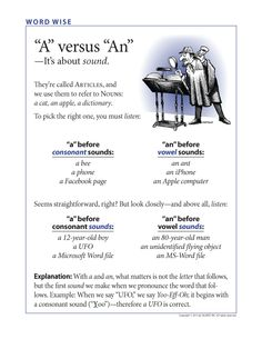 A vs. An depends not on whether the next word starts with a vowel but on the Sound of the first letter.