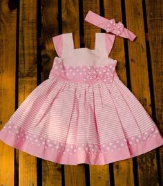Pink and white striped. Pink headband with bow Baby Girl Dress Patterns, Little Dresses, Little Girl Dresses, Cute Dresses, Girls Dresses, Toddler Girl Style, Toddler Dress, Baby Dress, Fashion Kids