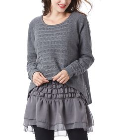 Look what I found on #zulily! Simply Couture Gray Cable-Knit Tiered-Ruffled Tunic by Simply Couture #zulilyfinds
