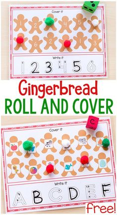 These gingerbread roll and cover mats are perfect for Christmas math and literacy centers or homeschool lessons. Christmas Math, Christmas Activities For Kids, Preschool Learning Activities, Preschool Christmas, Alphabet Activities, Preschool Winter, Preschool Curriculum, Toddler Learning, Christmas Countdown