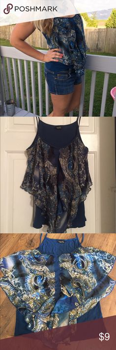 Rue 21 flowy blue detailed tank L Good condition! Tiny hole under tag, as shown. Otherwise adorable with denim, or off-white shorts and pants. Has accents of green, off white, black, teal, and cerulean blue. Perfect for summer or to be layered with a cardigan. Rue 21 Tops Tank Tops