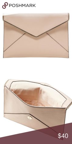 Black Friday Sale! Pale Pink Envelope Clutch Pale Pink Envelope Clutch with zipper detailing. No Strap. NWT! There is a slight indentation on the back on the Clutch just due to another purse laying on it for awhile. First 2 photos are from online, last 2 photos are of actual item. Looks just like the Rebecca Minkoff  version! Banana Republic Bags Clutches & Wristlets