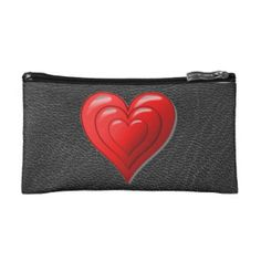 Triple Red Heart Leather Look Cosmetic  Bag