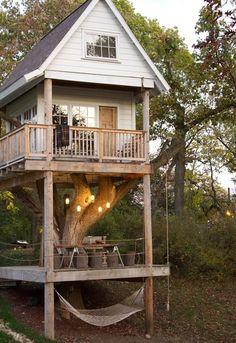 dream treehouse. hacer una base en el piso, poner partes del arbol seco y una casa arriba sentada en los cuatro pilares simulando que esta en el arbol