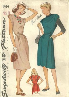 Simplicity 1414 / Vintage 40s Sewing Pattern / by studioGpatterns