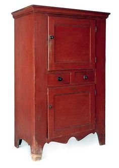 """NEW ENGLAND PAINTED PINE CUPBOARD, early 19th c., retaining its original red surface, 60 1/4"""" h., 35 1/2"""" w. Sold at Pook and Pook June 28-29, 2012. ~♥~"""