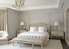 wall moulding ideas Bedroom Traditional with applied moldings button tufting