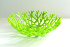Spring Green Beachy Glass Sea Coral Bowl - Art Glass Decorative Bowl