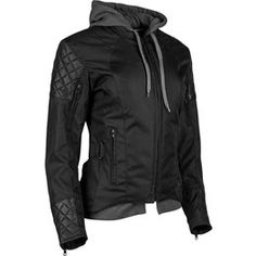 Speed & Strength Womens Double Take Armored Textile Jacket With Hooded Liner Black
