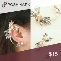 Pearl Crystal Ear Cuff Piece New Pearl Crystal Ear Cuff Piece gold plated...See all styles for more follow us to see new items posted daily! We carry the latest in women's and kids & man fashion...limited edition makeup jewelry swimsuits and more!! Rima Imar Jewelry Earrings