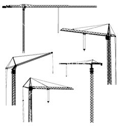 Silhouettes of construction crane tower vector art - Download ...