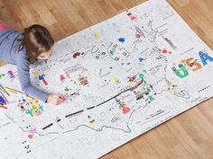 These coloring posters, discovered by The Grommet,  transform your wall or floor into a large coloring book that your child will be excited to fill in.