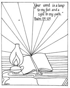 Psalm 119 105 coloring pages Scripture Art, Bible Verses, Bible Art, Bible Crafts, Kids Crafts, Bible Coloring Pages, Coloring Sheets, Adult Coloring, Coloring Books