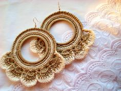 Crochet Hoop Earrings Handmade Jewelry ecru white by burunduchok, $24.00