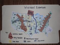 Explain westward expansion in America. Break the kids into groups and give them a map, and have them map different events and thinks that happened during Westward Expansion- two day project 3rd Grade Social Studies, Social Studies Activities, History Activities, Teaching Social Studies, 8th Grade History, Study History, Teaching American History, Teaching History, Map Projects