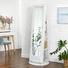 Buy Quakertown Rotatable Freestanding Jewelry Armoire with Mirror Ebern Designs Color: White Wall Mounted Jewelry Armoire, Jewelry Cabinet, Jewelry Mirror, Hanging Jewelry, Mirror Cabinets, Cabinet Doors, Kitchen Cabinets, Glass Shelves, Storage Shelves