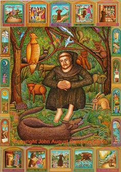 Francis and the Wolf by John August Swanson, ca.2002. Multicoloured silk-screen. St. Francis of Assisi, the patron saint of animals and ecology. The feast of St. Francis of Assisi is celebrated yearly on October 4th by having your pet blessed in the spirit of this patron saint
