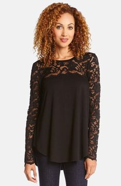 Love it! Sexy night out.   Free shipping and returns on Karen Kane Scallop Lace Contrast Top at Nordstrom.com. The lace yoke and sleeves instantly transform a simple jersey top into something with round-the-clock allure.
