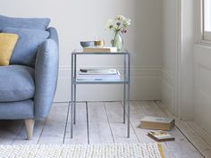 Sometimes side table simplicity really rocks. No bells, whistles or twiddly bits here, thank you very much! Pleated Curtains, Curtains With Blinds, Scatter Cushions, Seat Cushions, Painted Side Tables, Wooden Bedside Table, Table Shelves, Bedside Cabinet, Nightstand