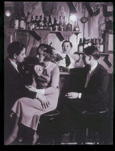 """During her first trip to Europe, Highsmith spent a """"dissolute three days"""" in Paris, where """"she had frequented the venerable lesbian bar Le Monocle."""" Here: Le Monocle in teh 1930s."""