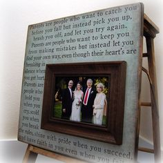 Parents Gift For Parents Personalized Picture Frame Wedding Gifts Custom 16x16 LOVED HER FIRST Anniversary Father Mother Quote Thank You