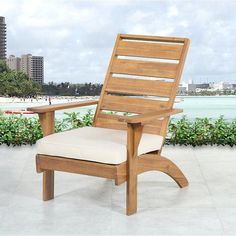 Rockport Brown Outdoor Chair - Linon style and seating to your outdoor space with the Rockport Brown Outdoor Chair. The chair features a sturdy brown acacia frame, accented by a plush fade-resistant fabric cushion. The wide seat, high Outdoor Armchair, Outdoor Chairs, Outdoor Furniture, Outdoor Decor, Wooden Furniture, Wood Patio Chairs, Garden Chairs, Outdoor Seating, Outdoor Spaces