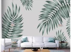 Wallpaper Hand Painted Tropical Plant Leaves Simple and Fresh Modern Custom Photo Wallpaper Murals Wall Decor Bedroom Murals, Living Room Bedroom, Wall Murals, Bedroom Decor, Palm Leaf Wallpaper, Wall Wallpaper, Interior Wallpaper, Photo Wallpaper, Painted Leaves