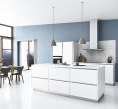 A Modern Kitchen with White High Gloss Island Cabinets Kitchen Interior, Kitchen Decor, New Farm, Interior Decorating, Interior Design, Cabinet Doors, Fine Dining, Interior Inspiration, Home Kitchens