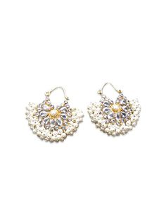 SEED HOOPED PEARL BALIS by designer Artisan from sobayha.com. Natural pearl baalis / hoops. Make a statement on their own, but can also be worn with the Seed Pearl Mala. See more at: https://www.sobayha.com/catalogue/seed-hooped-pearl-balis_244/