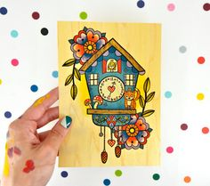 vintage inspired cuckoo clock / high quality art print on real wood paper / art home decor