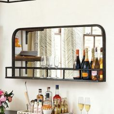 Entertain in style with home bar furniture and bar carts from Ballard Designs. Find the perfect bar cabinets, bar carts and bar shelves today! Bar Shelves, Metal Shelves, Wall Bar Shelf, Bar On Wall, Floating Shelves, Kingston, Basement Bar Designs, Basement Renovations, Basement Plans