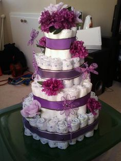 @Mandy Lett - Here is a diaper cake I made for my little niece.  Purple Butterfly Diaper cake