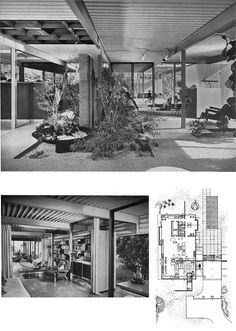 Just love the openness, space, light and natural elements in the top image. Jones Residence, L.A., 1961. Architect A. Quincy Jones.