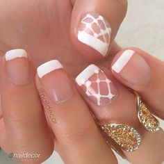 "Nail DIY idea. by @naildecor ""A french manicure with a lace twist."""