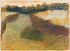 Edgar Degas: Wheatfield and Line of Trees, pastel over monotype in oil on paper, 1890... Degas Invents a New World Anka Muhlstein May 12, 2016 Issue Edgar Degas: A Strange New Beauty an exhibition at the Museum of Modern Art, New York City, March 26–July 24, 2016 Catalog of the exhibition edited by Jodi Hauptman Museum of Modern Art, 239 pp., $50.00