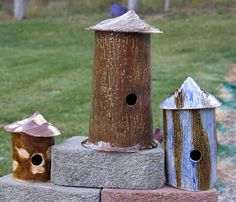 Slab birdhouses. This site has a chart of what size house and hole to make for certain birds