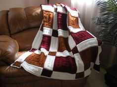 pattern for crocheted blanket pattern - I would do those rich colors with black framing