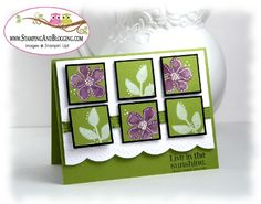 """handmade card ... inchies in a six grid pattern ... use a punch to get the size and the size for the mats ... """"Black Magic"""" technique up-date ... stamped solid flowers from Secret Garden set ... colored with inks ... highlighted with dots and lines done with white gel pen ... beautiful look in olive, purple and white ... Stampin' Up!"""