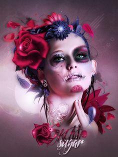 Tournoi 2 Maquiller Skull Hexx by Ellanna-Graph on DeviantArt Day Of The Dead Girl, Day Of The Dead Skull, La Muerte Tattoo, Sugar Skull Girl, Sugar Skulls, Gothic Fantasy Art, Trash Polka Tattoo, Sun Tattoos, Sugar Skull Tattoos