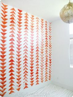 Triangle Wall  Stamp a geometric pattern to create a focal wall.  Find out more at Vintage Revivals.