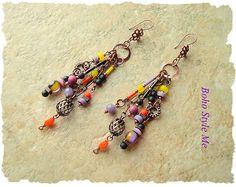 Boho Earrings Colorful Fun Gypsy Assemblage Earrings