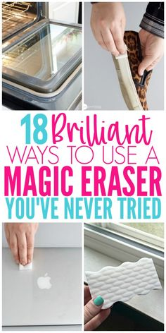 18 Magic Eraser Hacks That Will Blow Your Mind. Magic Eraser Hacks You Must Try. These Magic Eraser Hacks are great for projects around your home. Check out all the mind blowing ways you can use a Magic Eraser! Household Cleaning Tips, Deep Cleaning Tips, Toilet Cleaning, House Cleaning Tips, Diy Cleaning Products, Cleaning Solutions, Spring Cleaning, Cleaning Hacks, Clean House Tips