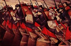 Nevinson, C.R.W. (1889-1946) - 1914-15 Returning to the Trenches (Nat. Gallery of Canada, Ottawa) Christopher Richard Wynne Nevinson was an English painter. He is often referred to by his initials C. R. W. Nevinson. He was associated with the vorticists but is perhaps best seen as a futurist. He attended the Slade School of Art and was briefly associated with the Cumberland Market Group before being conscripted in World War I, during which he was appointed an official war artist.
